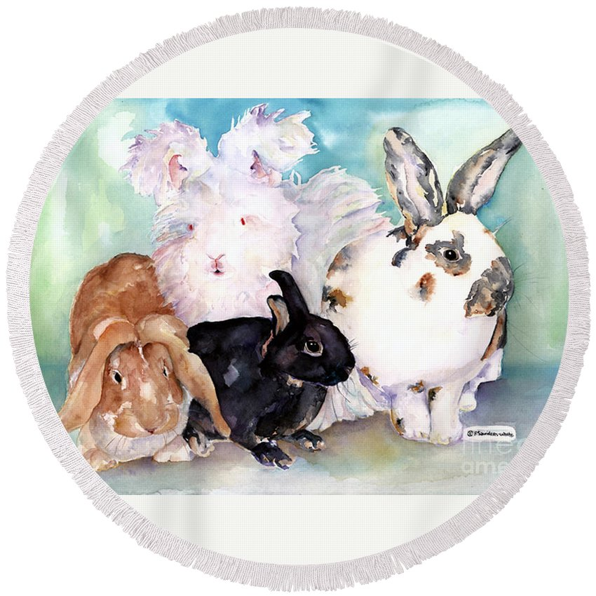 Animal Artwork Round Beach Towel featuring the painting Good Hare Day by Pat Saunders-White