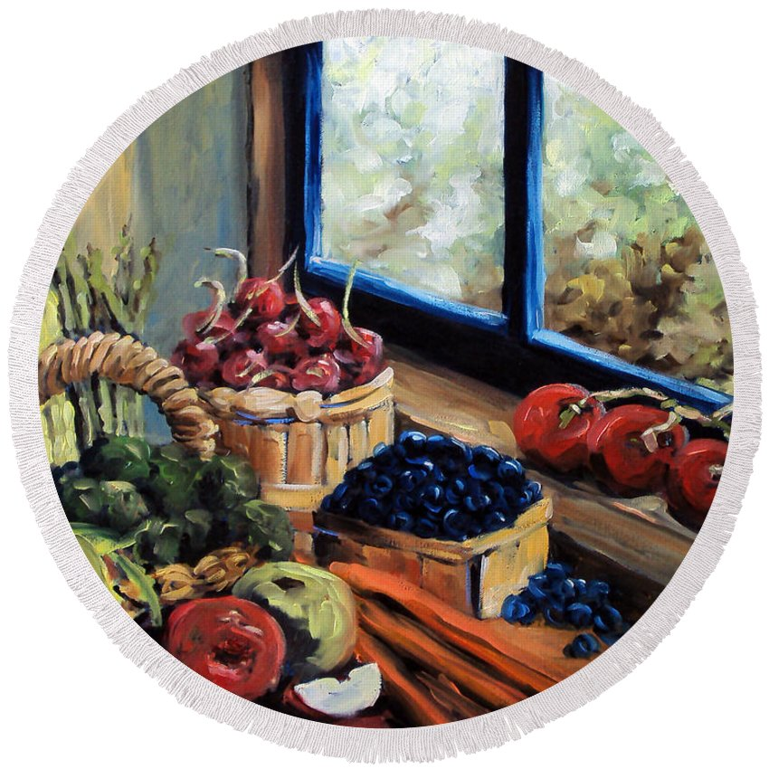 Art; Painting Round Beach Towel featuring the painting Good Harvest by Richard T Pranke