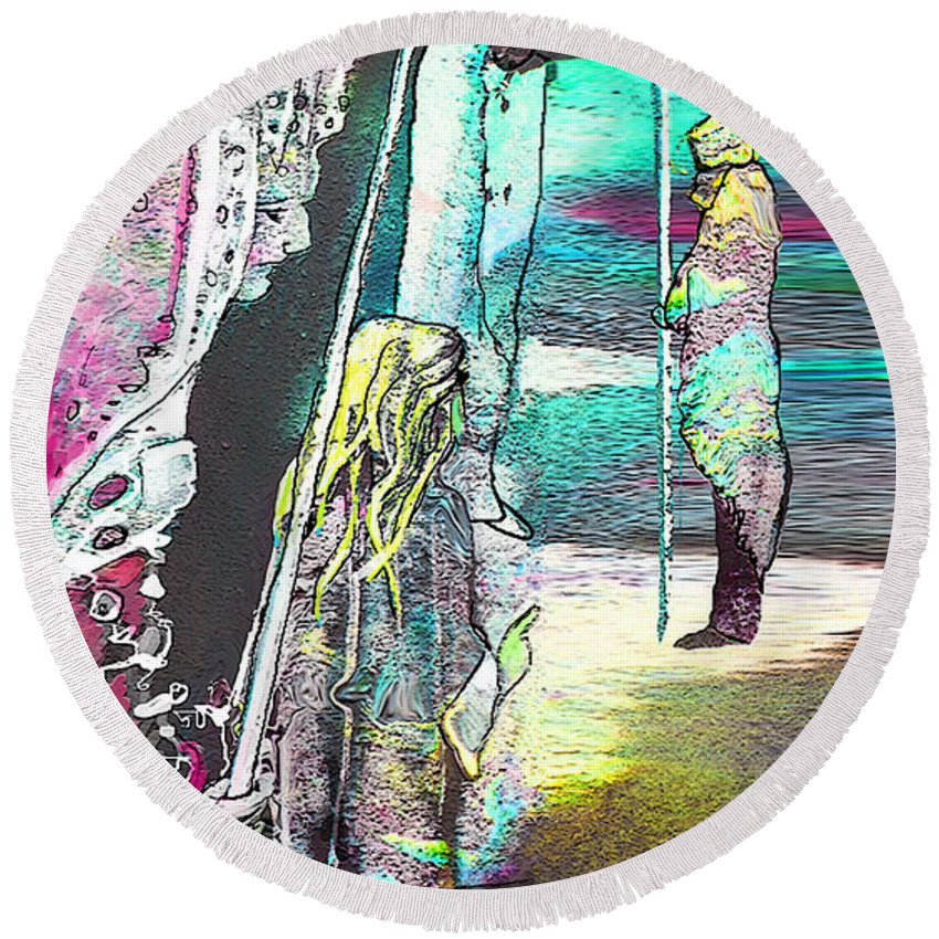 Biblescape Round Beach Towel featuring the painting Good Lord Show Me The Way by Miki De Goodaboom