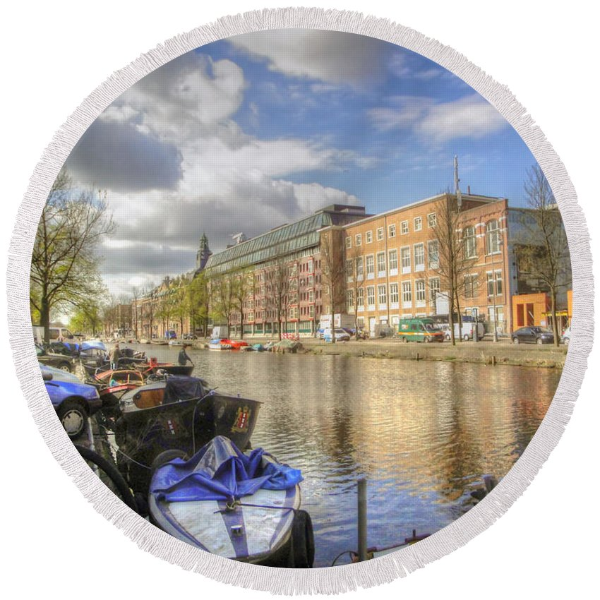 Amsterdam Round Beach Towel featuring the photograph Good Morning Amsterdam by Dolly Sanchez