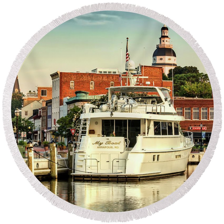 Annapolis Round Beach Towel featuring the photograph Good Morning Annapolis by Walt Baker