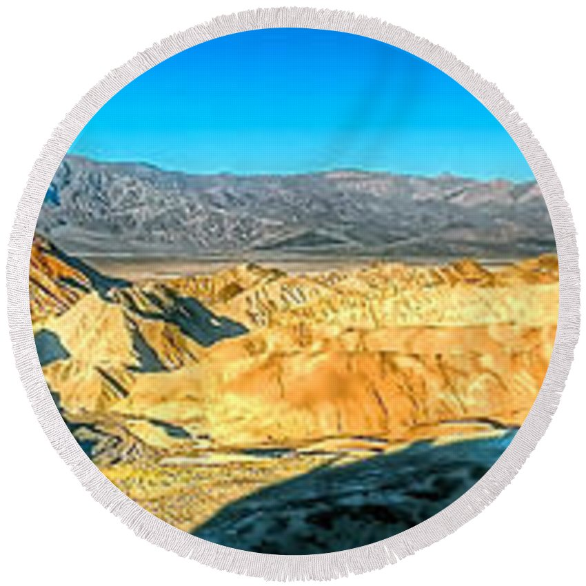 Zabriskie Point Round Beach Towel featuring the photograph Good Morning From Zabriskie Point by Don Mercer