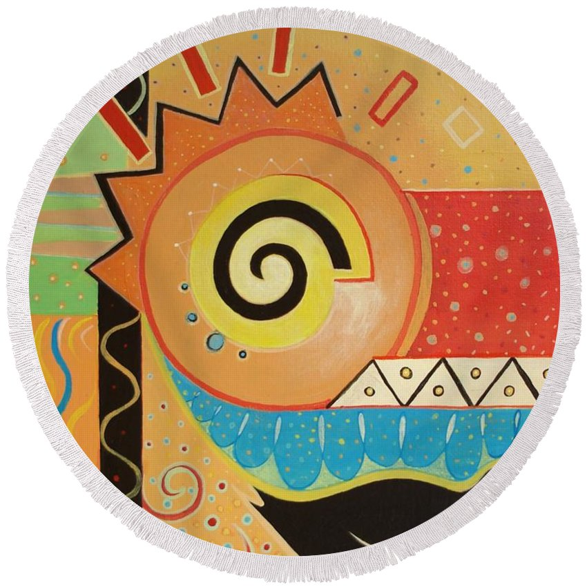 Rise And Shine Round Beach Towel featuring the painting Good Morning by Helena Tiainen