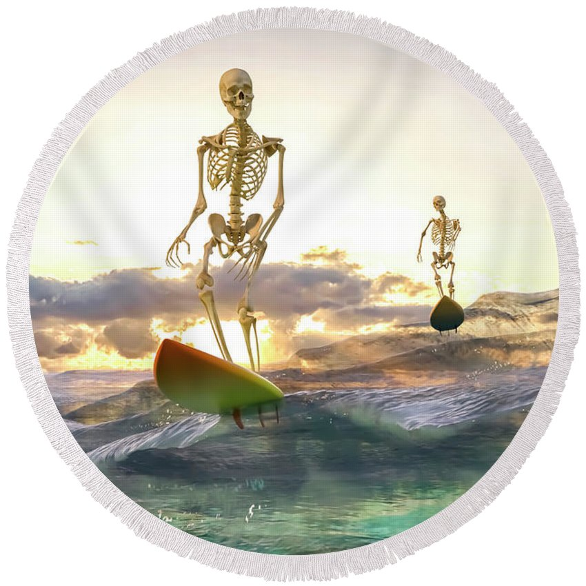 Skeleton Round Beach Towel featuring the digital art Good Morning Topsail by Betsy Knapp