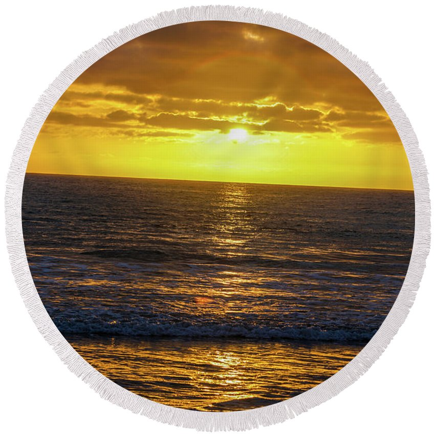 Kenneth James Round Beach Towel featuring the photograph Good Night by Kenneth James