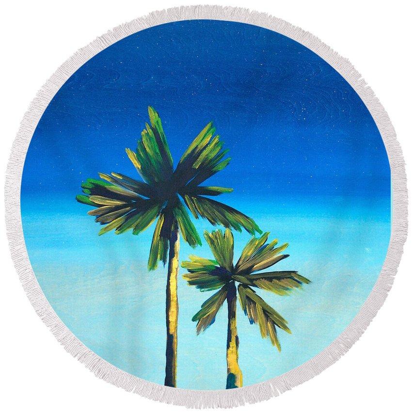 Night Round Beach Towel featuring the painting Good Night, La by Drica Lobo