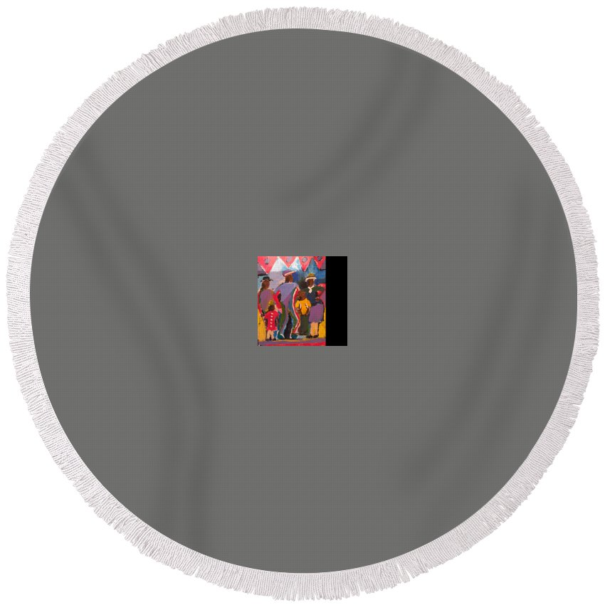 Round Beach Towel featuring the painting Good Time by Bethany Hannigan