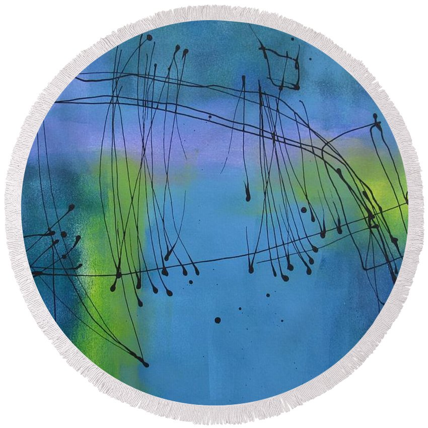 Abstract Round Beach Towel featuring the painting Good Vibrations Three by Louise Adams