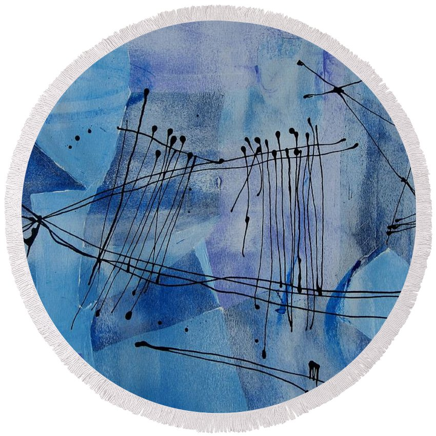 Abstract Round Beach Towel featuring the painting Good Vibrations Two by Louise Adams
