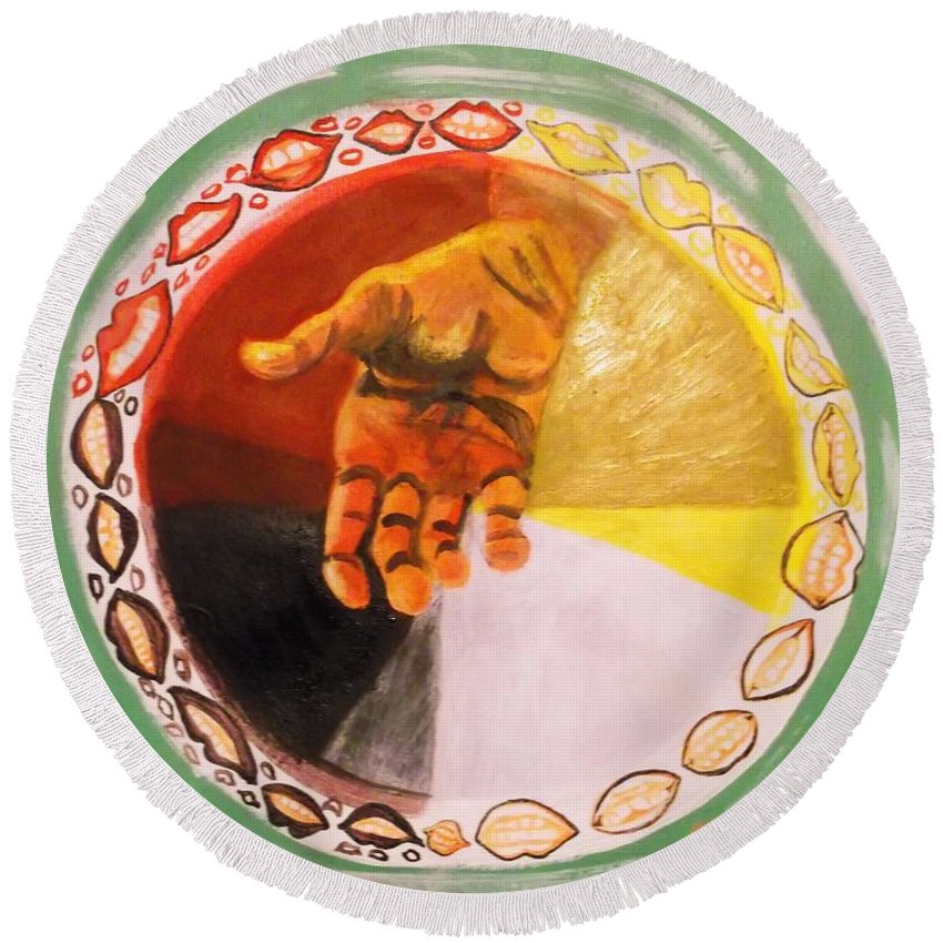 Medicine Wheel Round Beach Towel featuring the painting Goodwill by Abelone Petersen