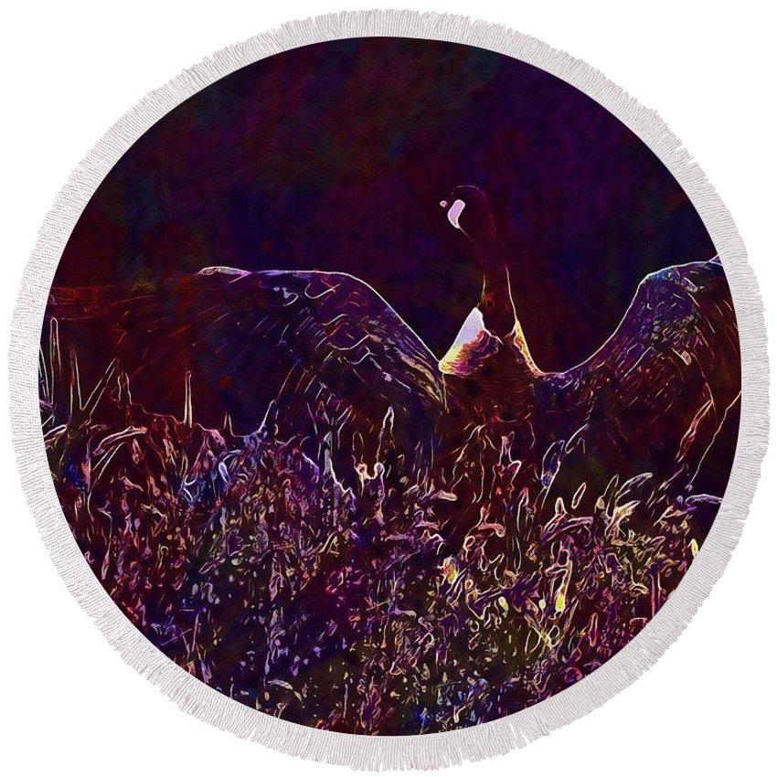Goose Round Beach Towel featuring the digital art Goose Bird Wildlife Nature Fly by PixBreak Art