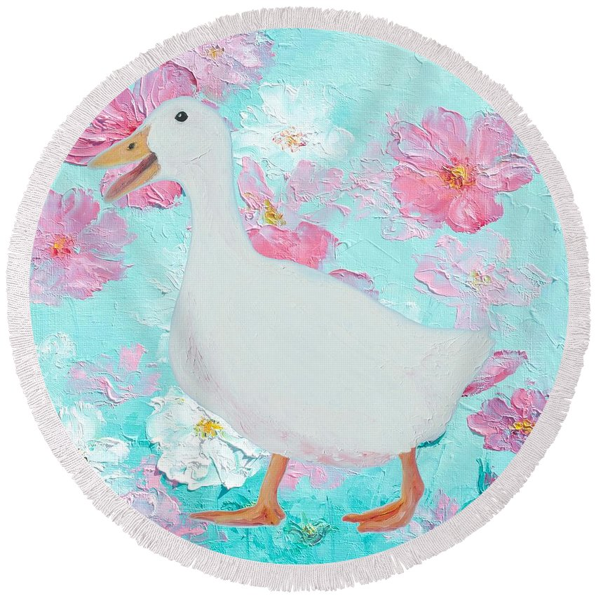 Goose Round Beach Towel featuring the painting Goose On Floral Background by Jan Matson