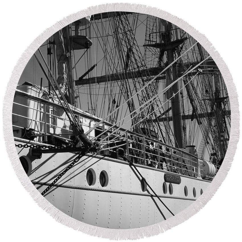 Gorch Fock Round Beach Towel featuring the photograph Gorch Fock ... by Juergen Weiss