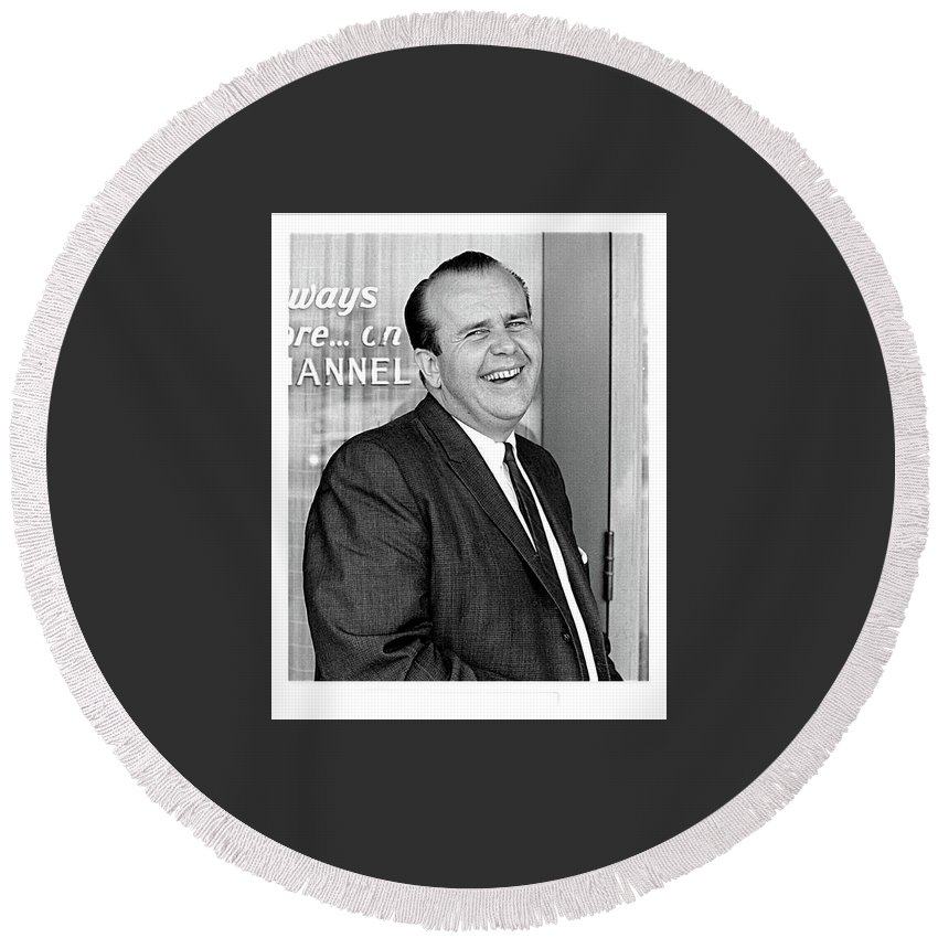 Gordon E. Doc Hamilton 1926 - 2004 Kvoa Tv Tucson Arizona Dick Mayers Photo C.1968 Round Beach Towel featuring the photograph Gordon E. Doc Hamilton 1926 2004 Kvoa Tv Tucson Arizona Dick Mayers Photo C.1968 by David Lee Guss
