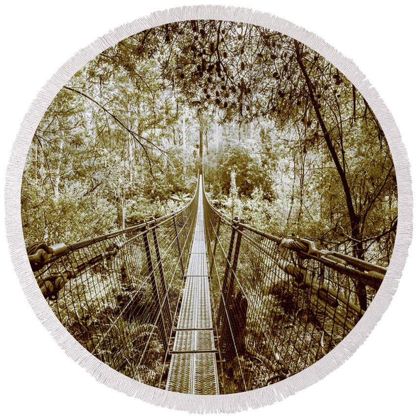 Sepia Round Beach Towel featuring the photograph Gorge Swinging Bridges by Jorgo Photography - Wall Art Gallery