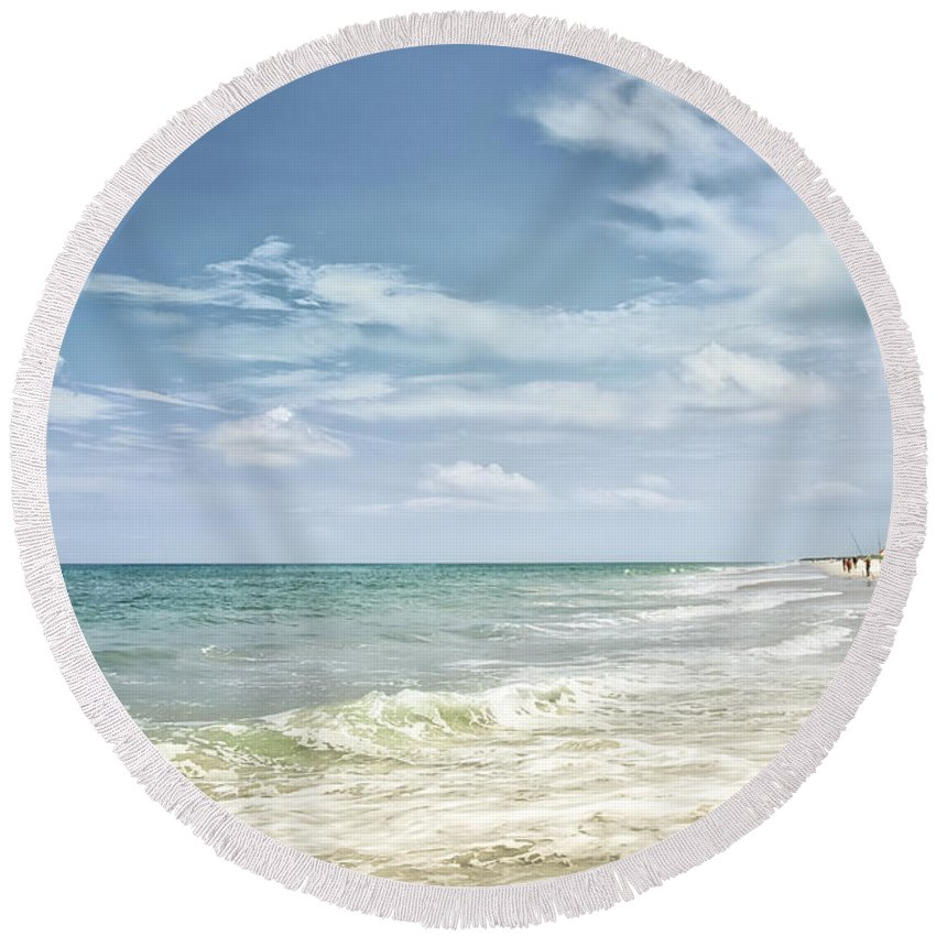 Seashore Round Beach Towel featuring the photograph Gorgeous Day At The Seashore by Louise Hill
