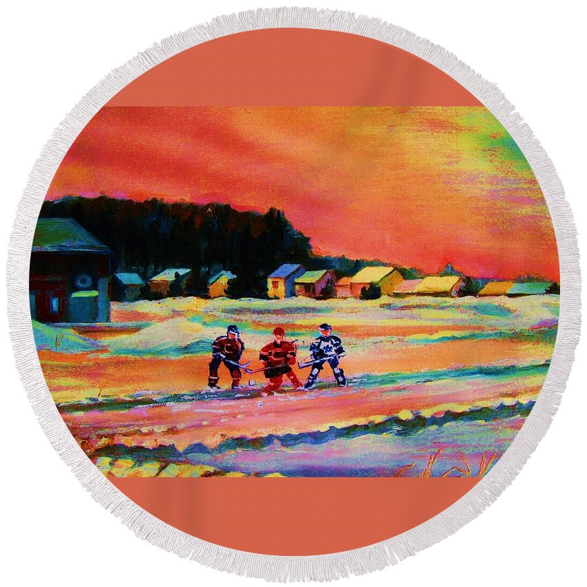 Hockey Landscape Round Beach Towel featuring the painting Gorgeous Day For A Game by Carole Spandau