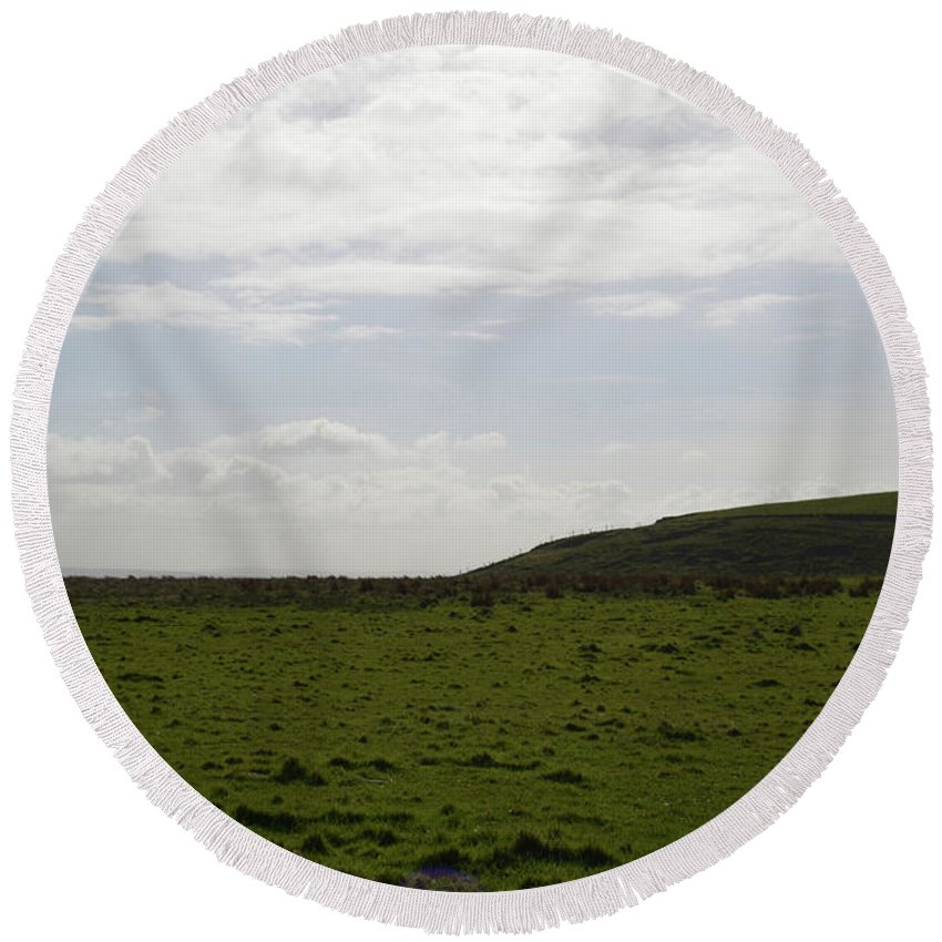 Hills Round Beach Towel featuring the photograph Gorgeous Grass Field With Clouds In Ireland by DejaVu Designs