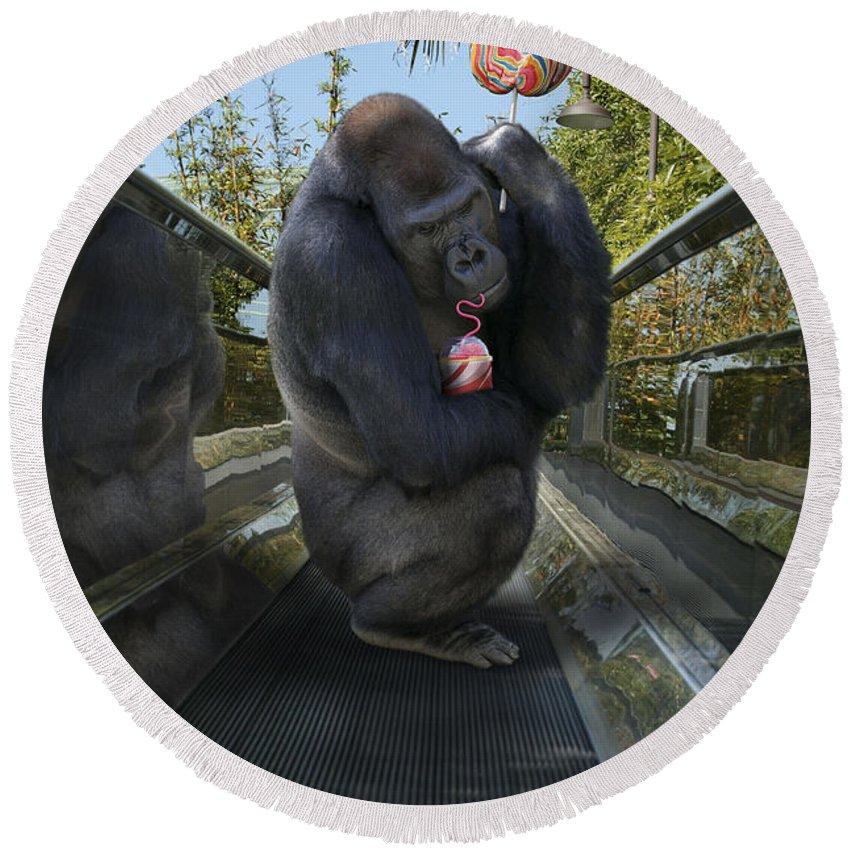 Gorilla Round Beach Towel featuring the photograph Gorilla With Lollipop by Guy Crittenden
