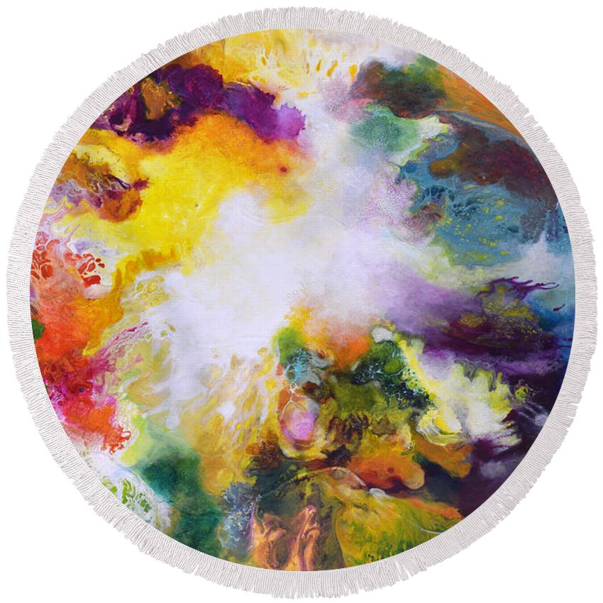 Fluid Round Beach Towel featuring the painting Gossamer 2 by Sally Trace