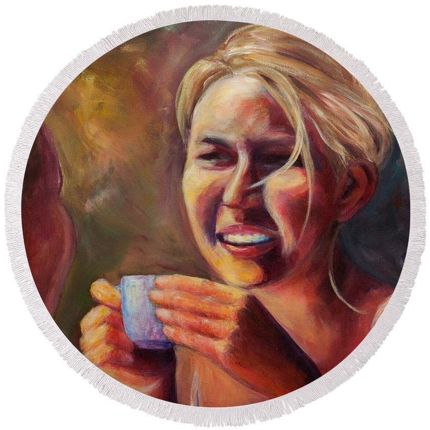 Girl Round Beach Towel featuring the painting Gossip by Jason Reinhardt