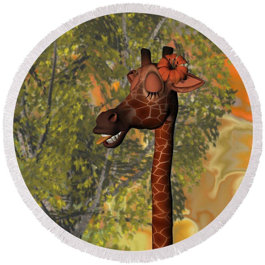 Cute Giraffe Round Beach Towel featuring the digital art Gossiping Giraffe by Judi Suni Hall