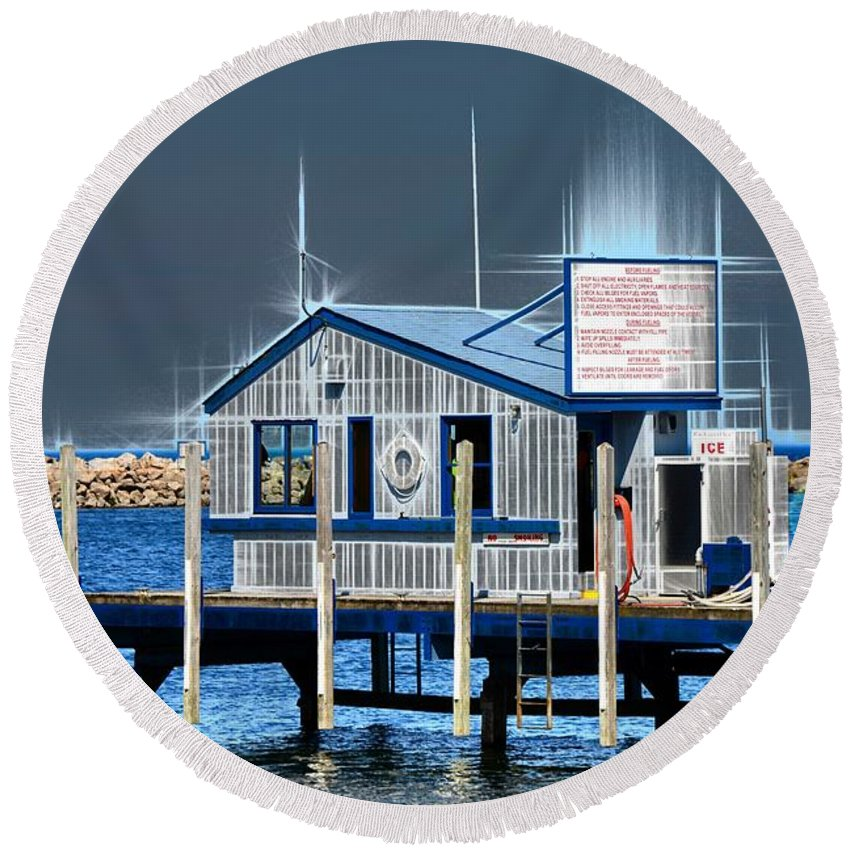 Artistic Round Beach Towel featuring the photograph Got Gas? by Michael Tucker