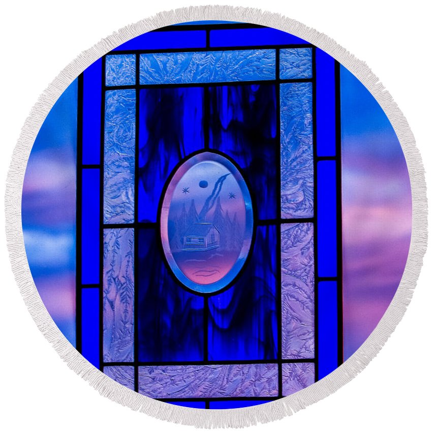 Stained Glass Round Beach Towel featuring the photograph Got The Blues by E Faithe Lester