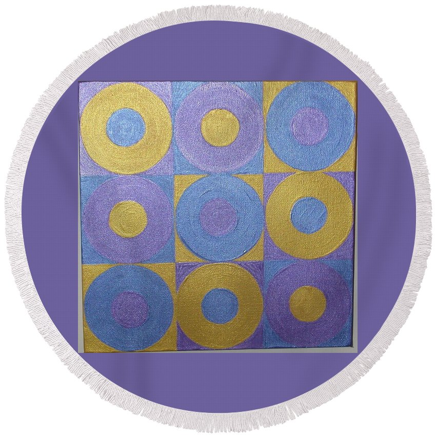 Bkue Round Beach Towel featuring the painting Got The Brass Blues by Gay Dallek