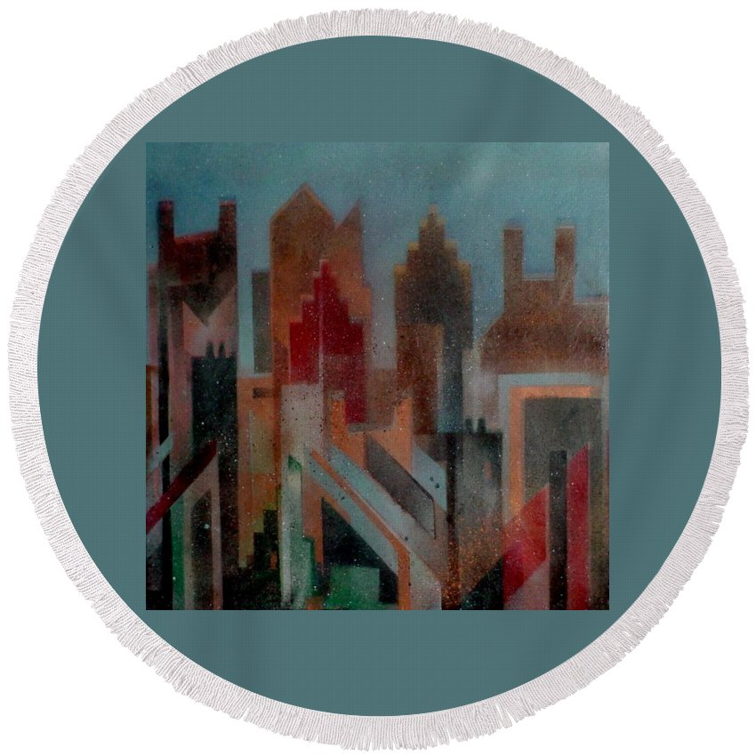 Abstract Round Beach Towel featuring the painting Gothem City by Anita Burgermeister