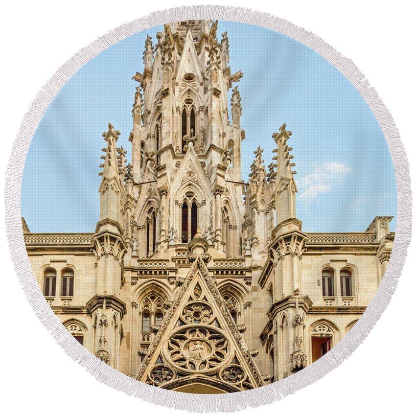 Viktor Birkus Round Beach Towel featuring the photograph Gothic Cathedral In Havana by Viktor Birkus