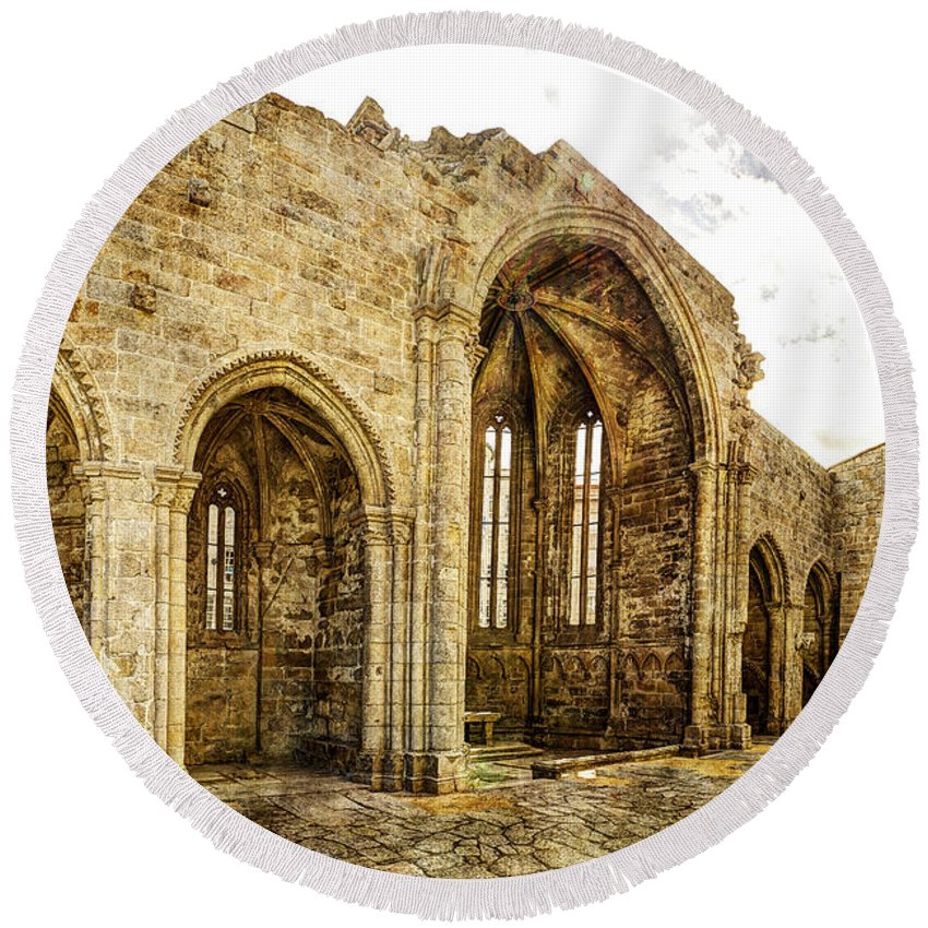 Gothic Round Beach Towel featuring the photograph Gothic Temple Ruins - San Domingos - Vintage Version by Weston Westmoreland