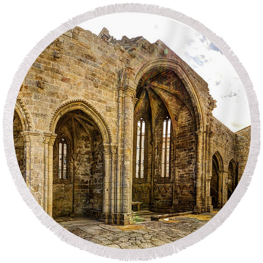 Gothic Round Beach Towel featuring the photograph Gothic Temple Ruins - San Domingos by Weston Westmoreland