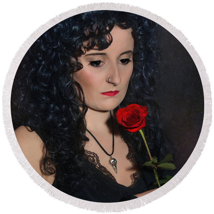 Woman Round Beach Towel featuring the photograph Gothic Woman With Rose by Amanda Elwell