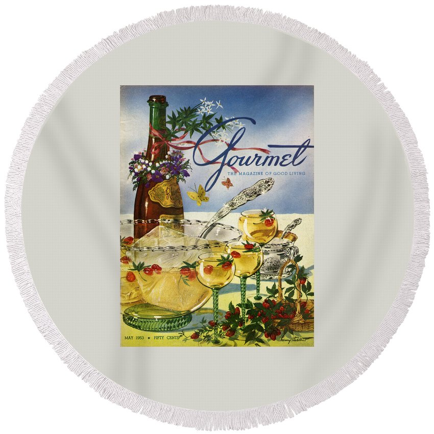 Illustration Round Beach Towel featuring the photograph Gourmet Cover Featuring A Bowl And Glasses by Henry Stahlhut