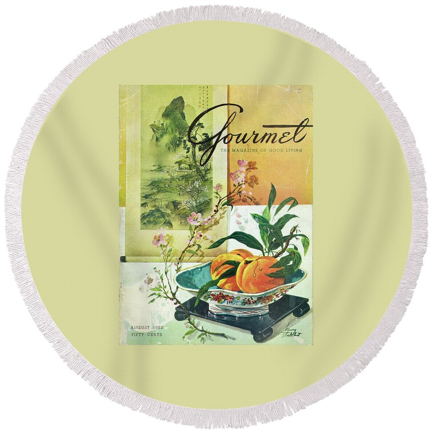 Food Round Beach Towel featuring the photograph Gourmet Cover Featuring A Bowl Of Peaches by Henry Stahlhut