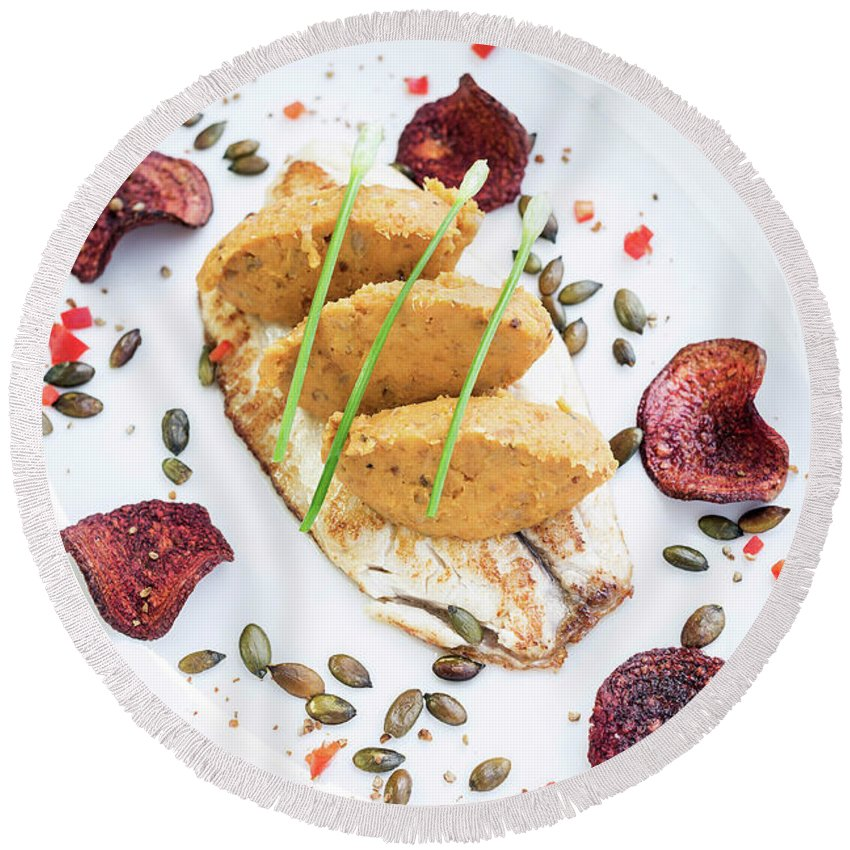 Artistic Round Beach Towel featuring the photograph Gourmet Fish Fillet With Chickpea Curry Puree Meal by Jacek Malipan