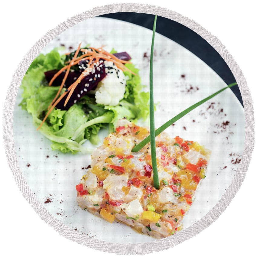 Artistic Round Beach Towel featuring the photograph Gourmet Raw Tuna Tartare Ceviche With Mango Lime And Chilli by Jacek Malipan