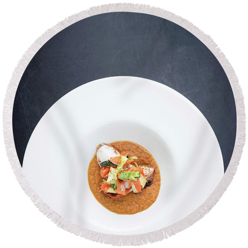 Artistic Round Beach Towel featuring the photograph Gourmet Stuffed Squid With Vegetables In Pumpkin Curry Puree by Jacek Malipan