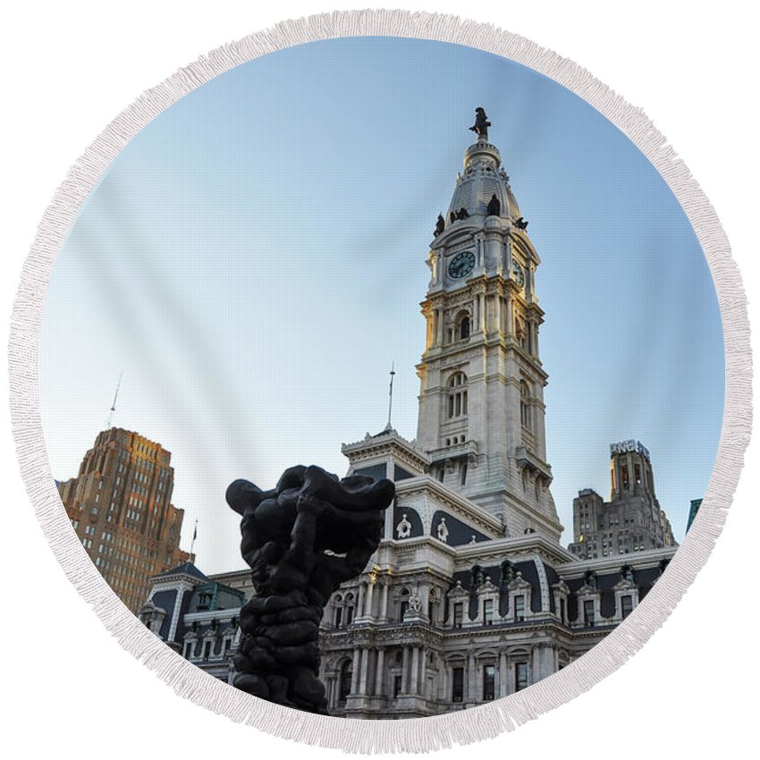 Government Round Beach Towel featuring the photograph Government Of The People And City Hall Philadelphia by Bill Cannon