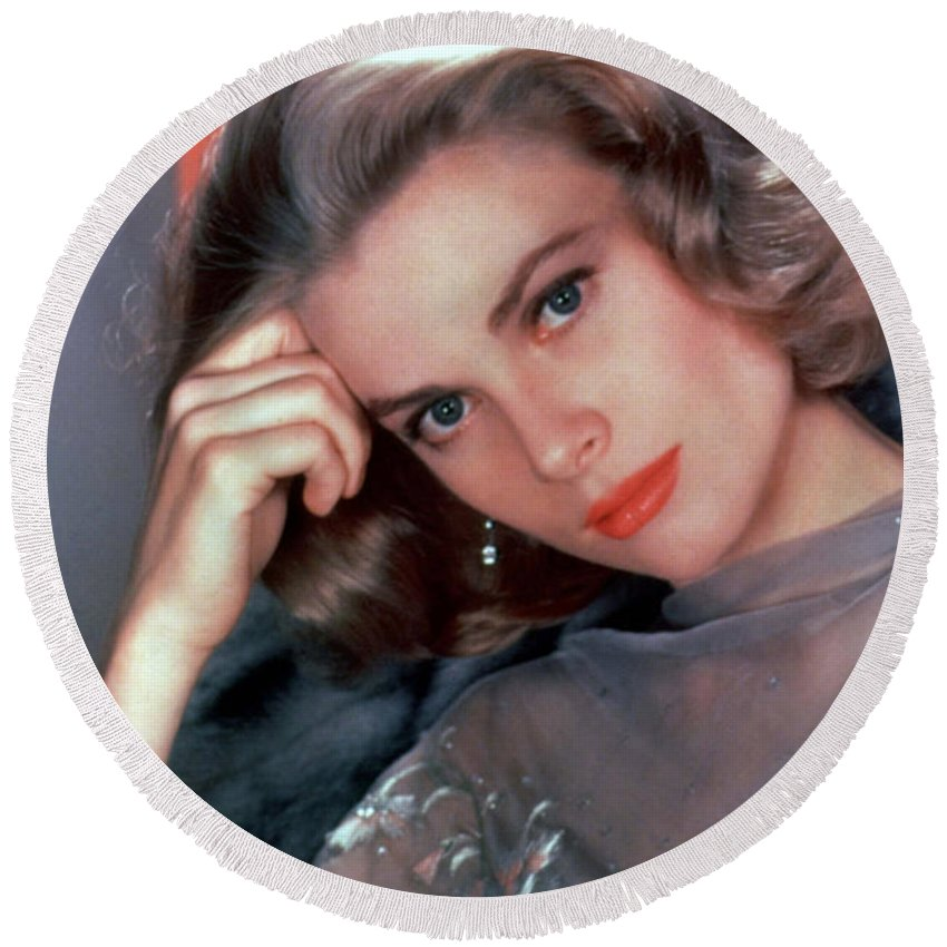 Grace Kelly Round Beach Towel featuring the photograph Grace Kelly by American School
