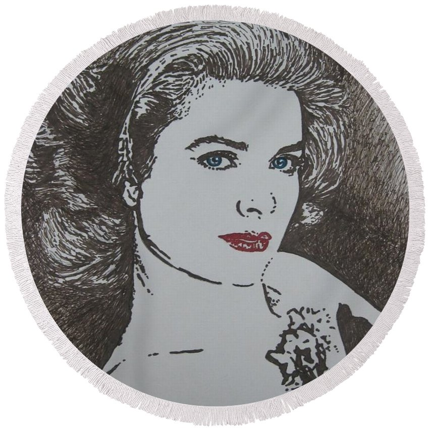 Grace Kelly Round Beach Towel featuring the drawing Grace by Lynet McDonald