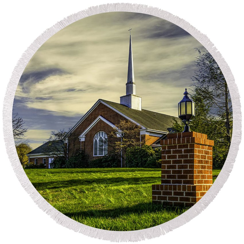 Church Round Beach Towel featuring the photograph Grace United Methodist Church by Nick Zelinsky
