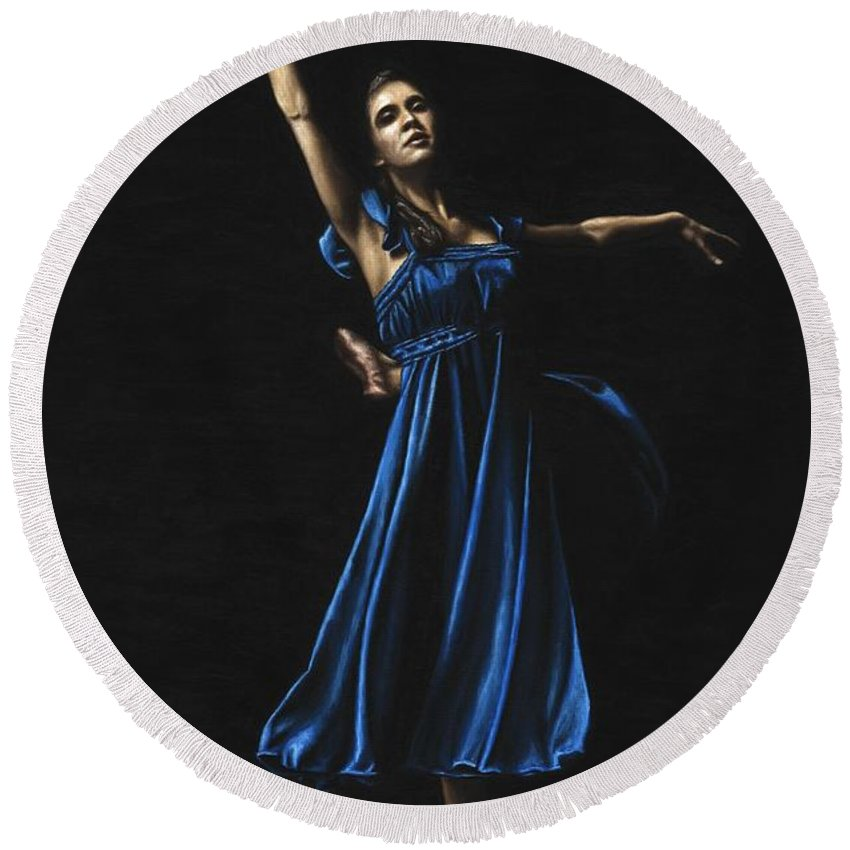 Graceful Round Beach Towel featuring the painting Graceful Dancer In Blue by Richard Young