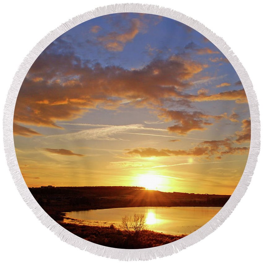 Sunset Round Beach Towel featuring the photograph Graceful Drama by Adele Moscaritolo