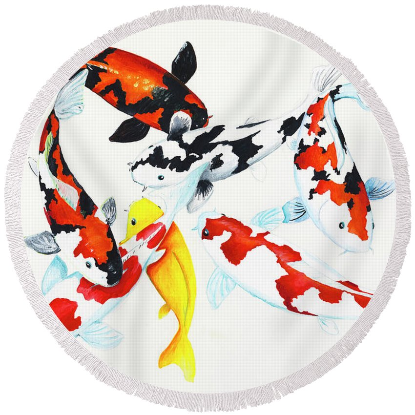 Koi Round Beach Towel featuring the painting Graceful Koi by Corrado Ghioldi