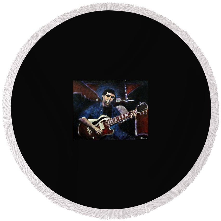 Shining Guitar Round Beach Towel featuring the painting Graceland Tribute To Paul Simon by Seth Weaver
