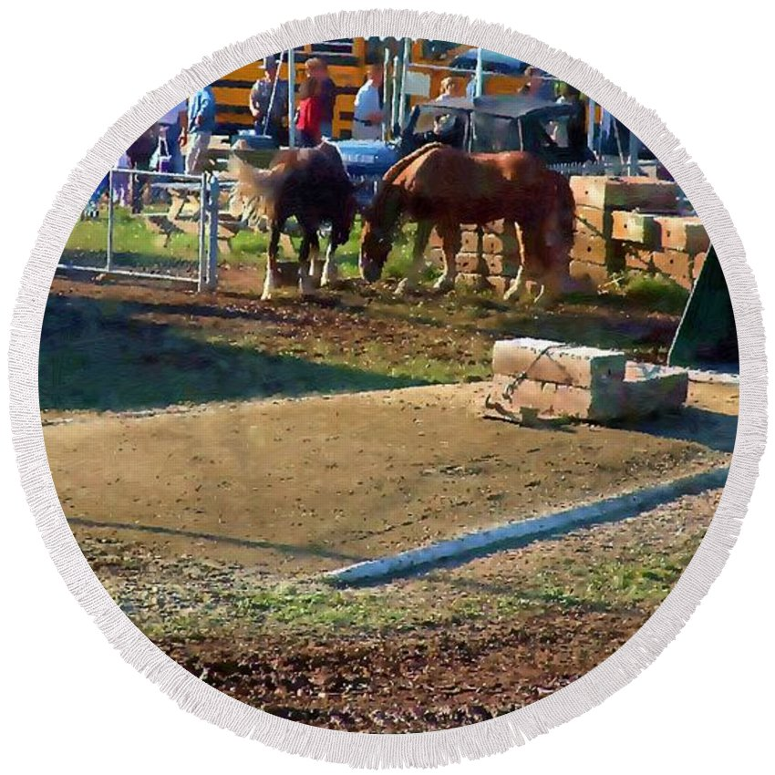 Agricultural Round Beach Towel featuring the painting Grading The Ring by RC DeWinter