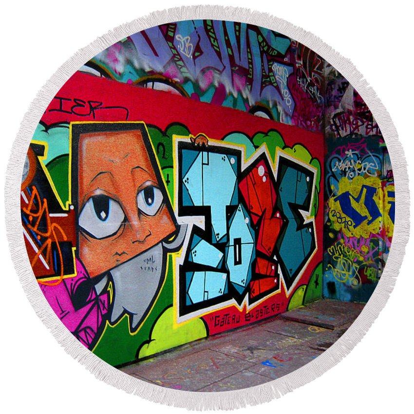 Graffiti Round Beach Towel featuring the photograph Graffiti London Style by Madeline Ellis