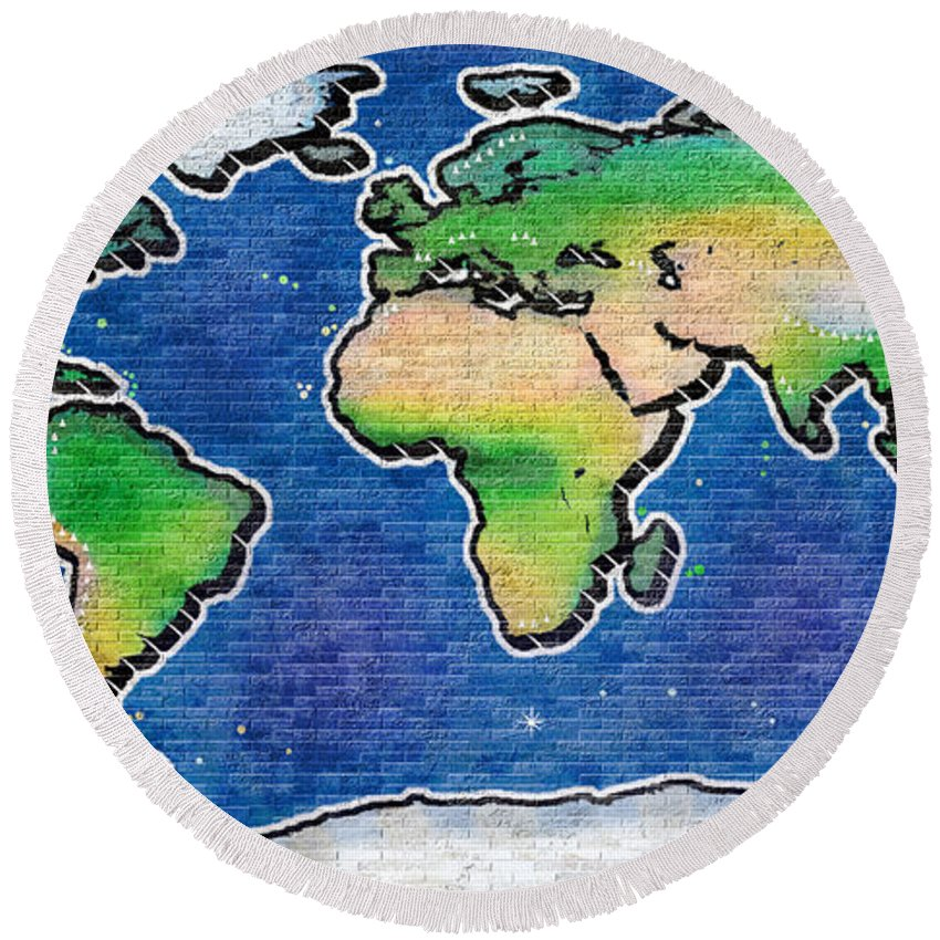 Graffiti world map round beach towel for sale by frans blok world round beach towel featuring the photograph graffiti world map by frans blok gumiabroncs Image collections